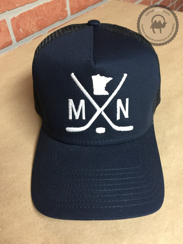 Embroidered MN Hockey Hat - New Era Snapback Trucker Hat