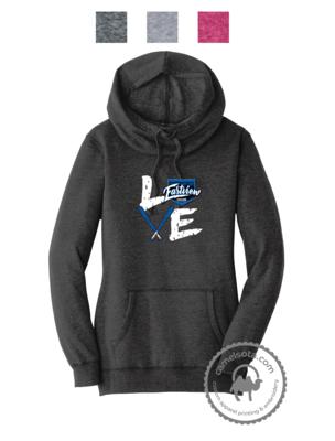 Love Baseball Design Printed on District ® Women's Lightweight Hoodie