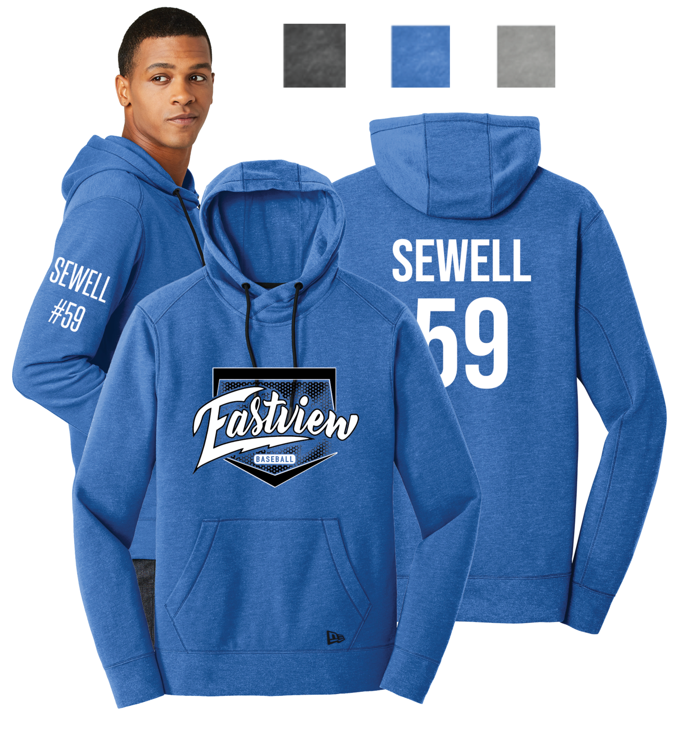 Eastview Baseball Men's New Era® Tri-Blend Pullover Hoodie