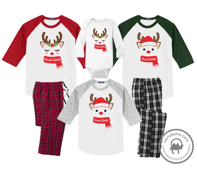 Family Coordinating Christmas Shirts and Pajama Pants - Reindeer