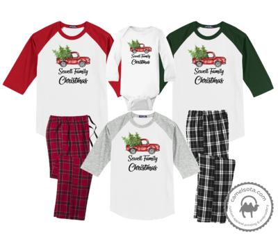 Family Coordinating Christmas Shirts and Pajama Pants - Retro Truck