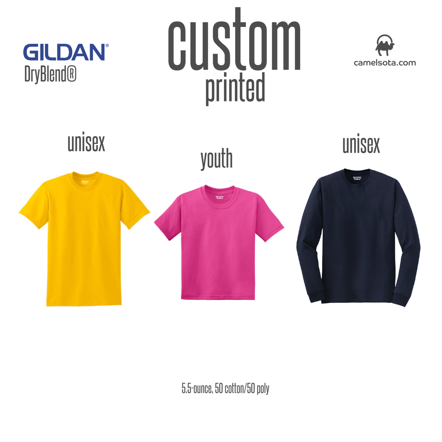 Custom Gildan DryBlend 50 Cotton/50 Poly T-Shirt