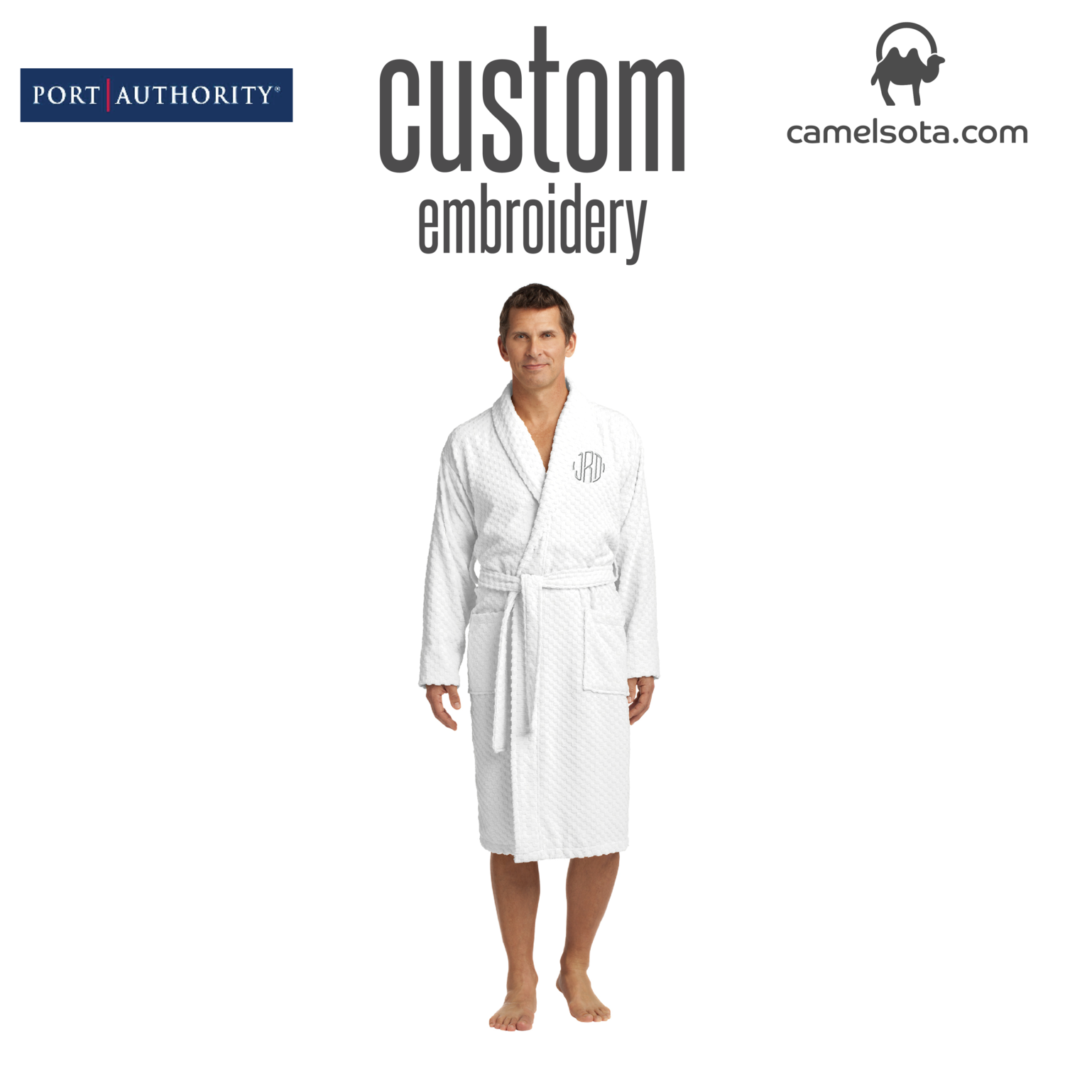Custom Embroidered Port Authority® Checkered Terry Shawl Collar Robe