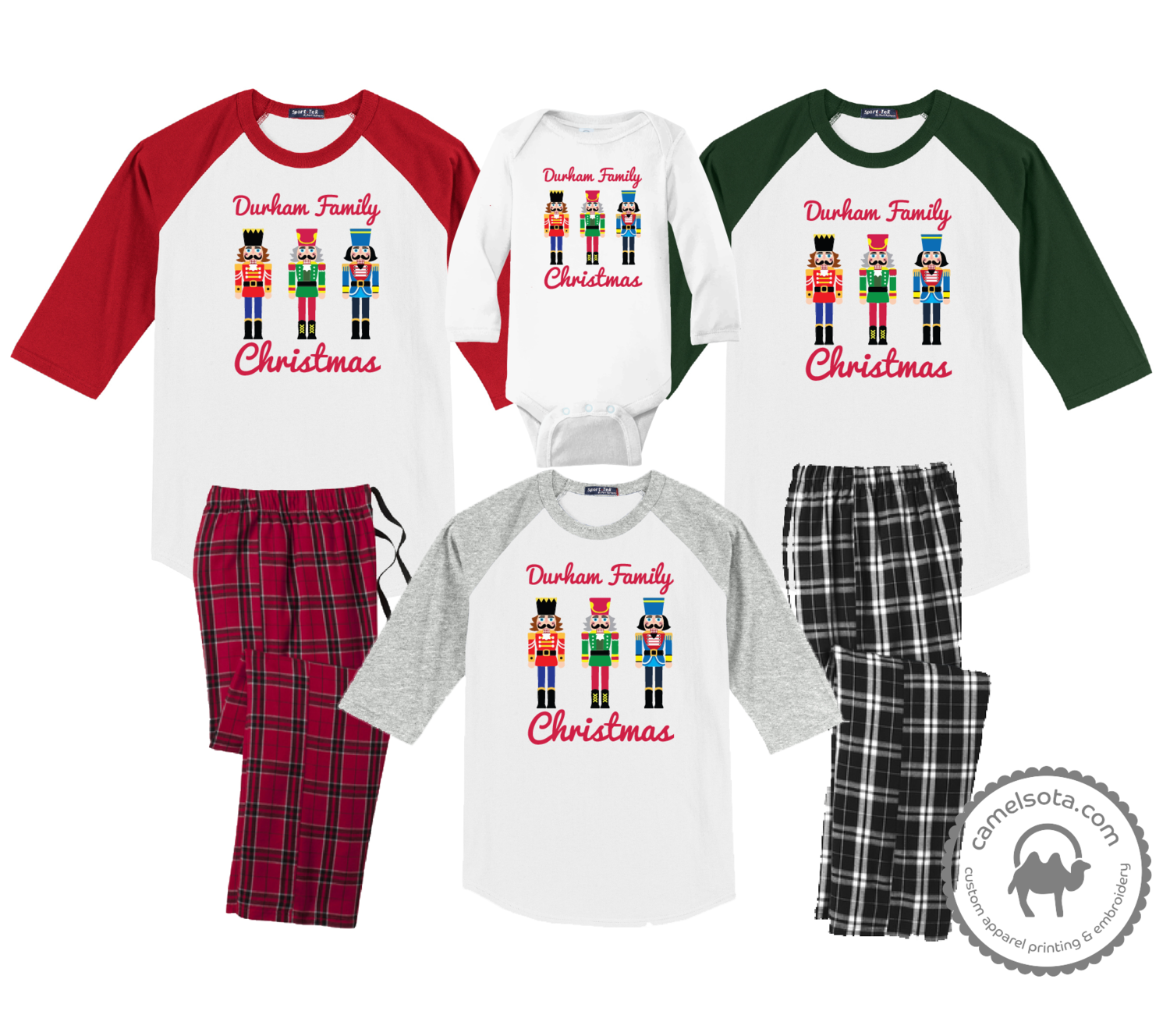 Family Coordinating Christmas Shirts and Pajama Pants - Nutcrackers