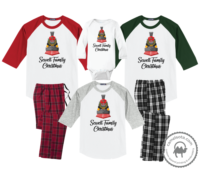 Family Coordinating Christmas Shirts and Pajama Pants - Train