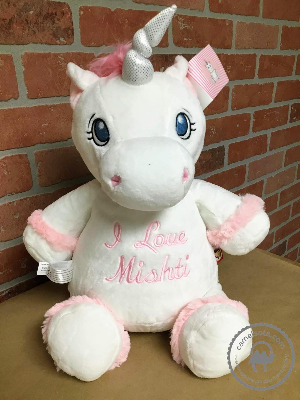 Custom Embroidered White Unicorn Cubby
