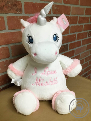 Custom Embroidered White Unicorn Cubby