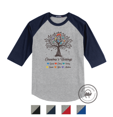 Grandma Tree Blessings Shirts with Grandkids Names - Light Grey