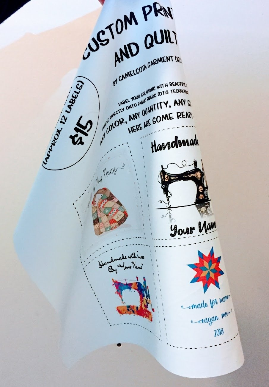 "Custom Printed Fabric and Quilt Labels - 14""x16"" Sheet"