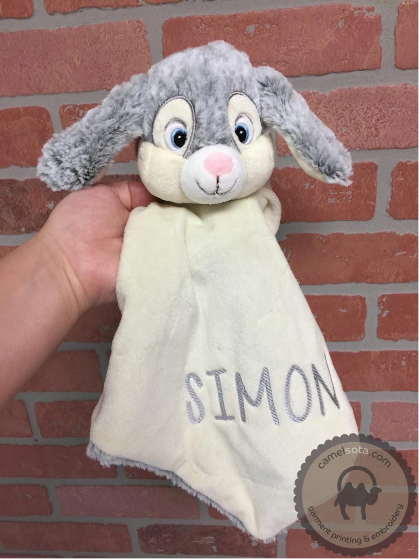 Custom Embroidered Grey Bunnie Blankie