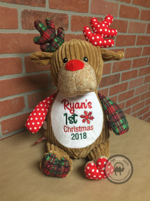 Custom Embroidered Christmas Deer Cubby
