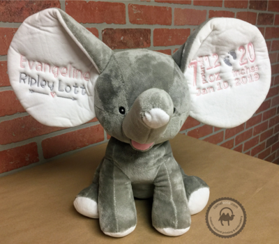 Custom Embroidered Elephant Cubby - Grey Dumble