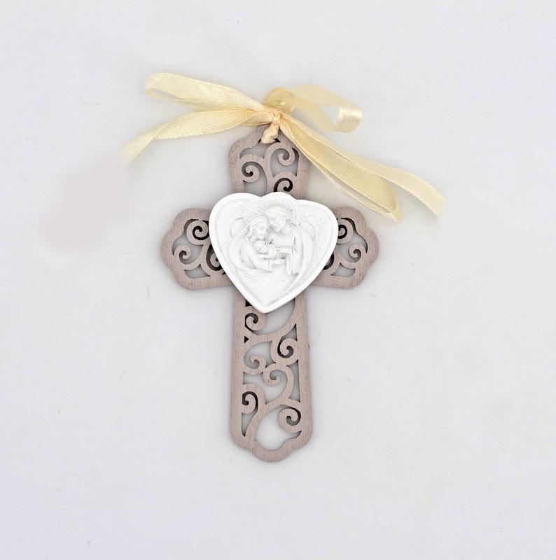Bomboniera croce in legno con applicazione sacra famiglia Pz. 10