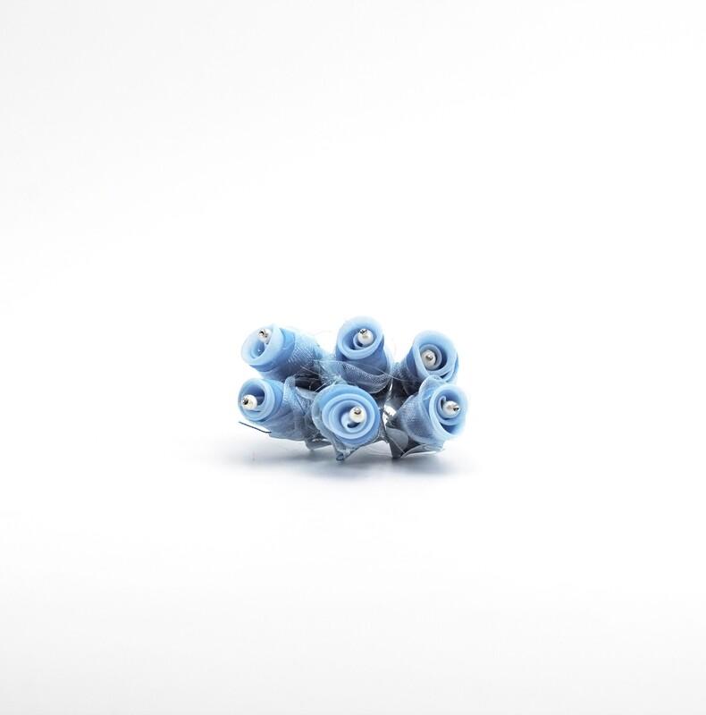 Applicazione fiore betty celeste piccolo con perle e strass Pz. 72