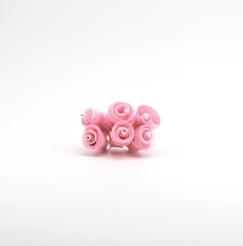 Applicazione fiore betty rosa piccolo con perle e strass Pz. 72