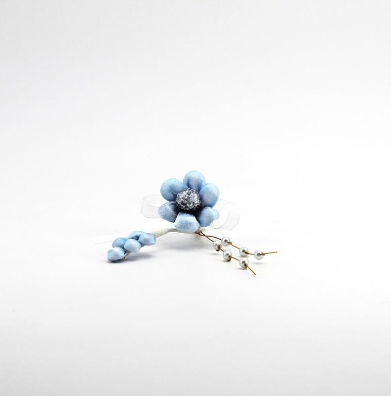 Applicazione pick fiore celeste con spiga e perle Pz. 10