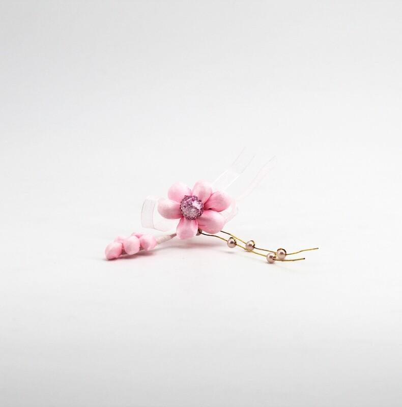Applicazione pick fiore rosa con spiga e perle Pz. 10