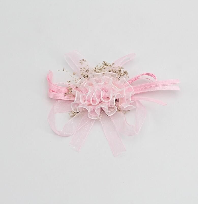 Applicazione pick rosa fiore coccarda con velo Pz. 10