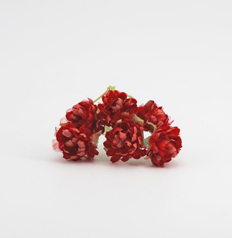 Applicazione fiore santino rosso con stelo Pz. 144