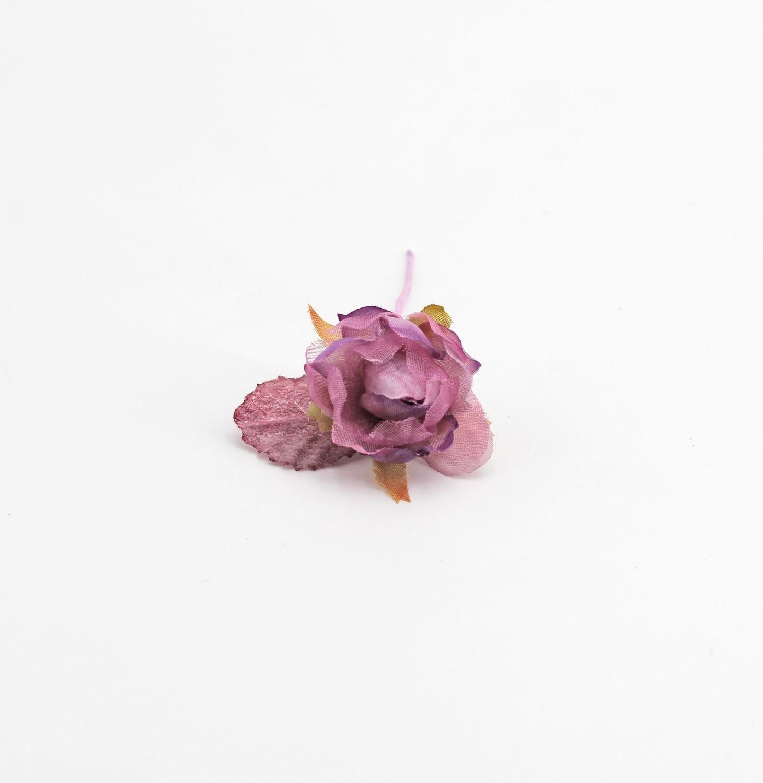 Applicazione roselline viola con foglia Pz. 24