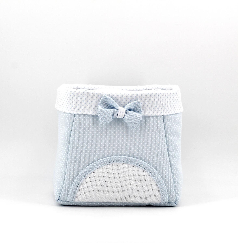 Cestino bebè porta oggetti celeste con interno plastificato Pz. 1