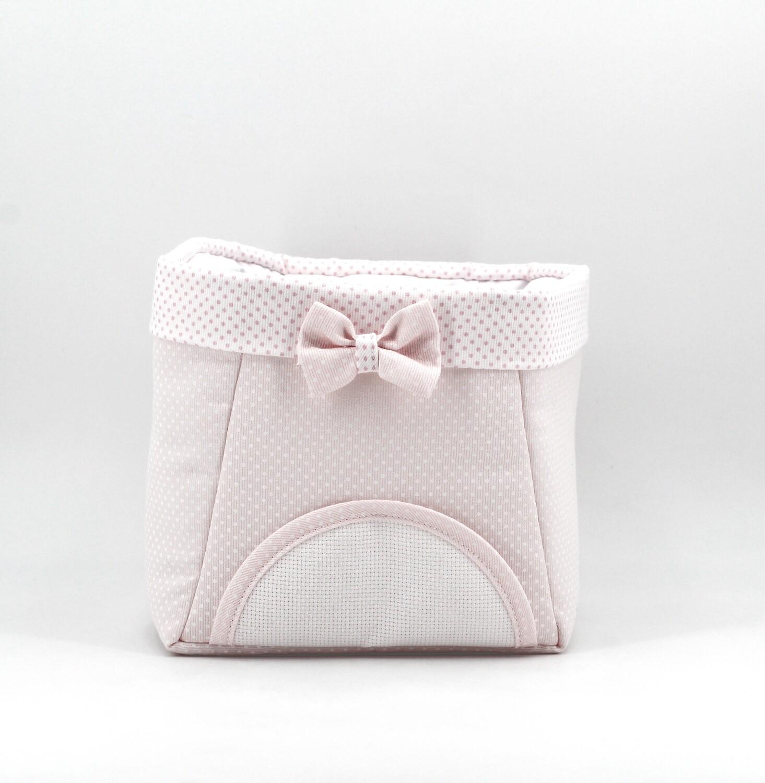 Cestino bebè porta oggetti rosa con interno plastificato Pz. 1