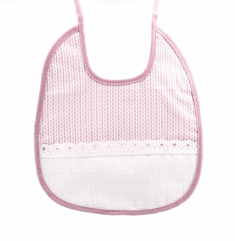 Bavaglino rosa con tela aida Pz. 1