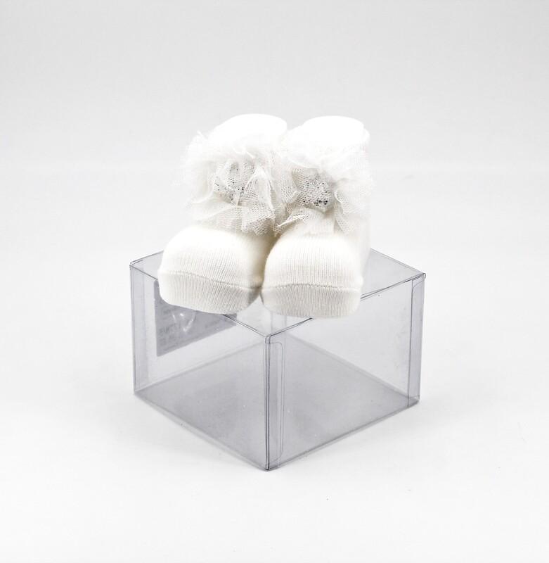Scarpine neonato bianche in cotone Pz. 1