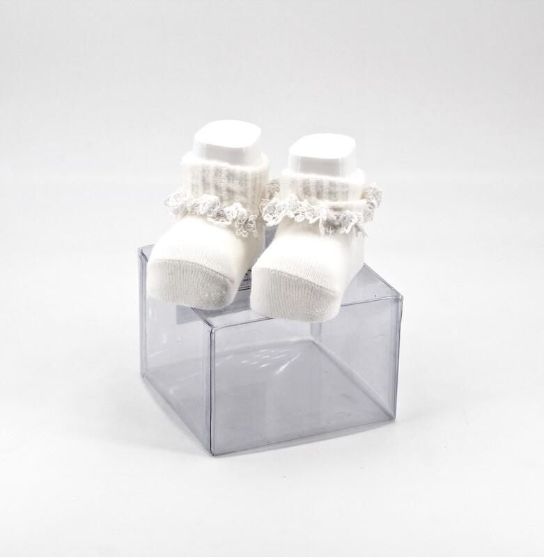 Scarpine neonato in cotone bianche con ricamo Pz. 1