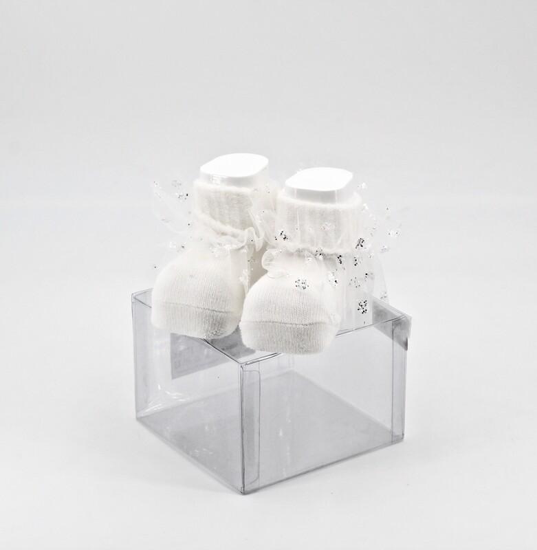 Scarpine neonato in cotone bianche con velo organza a pois glitter Pz. 1