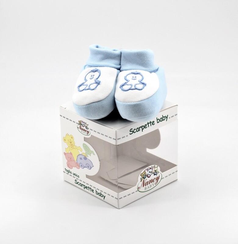 Scarpine neonato in cotone celesti e bianche Pz. 1