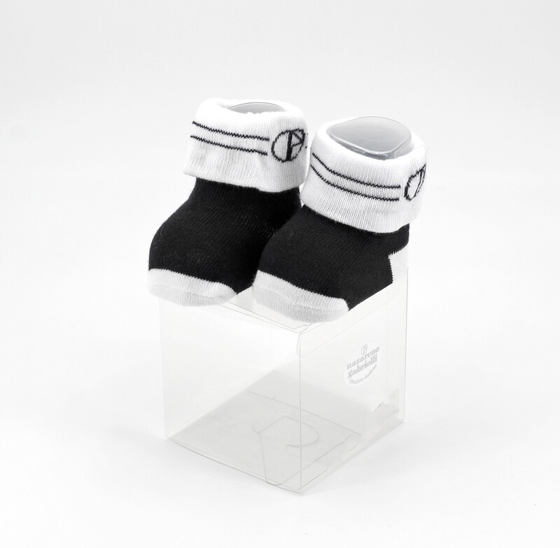 Scarpine neonato in cotone nere e bianche Pz. 1
