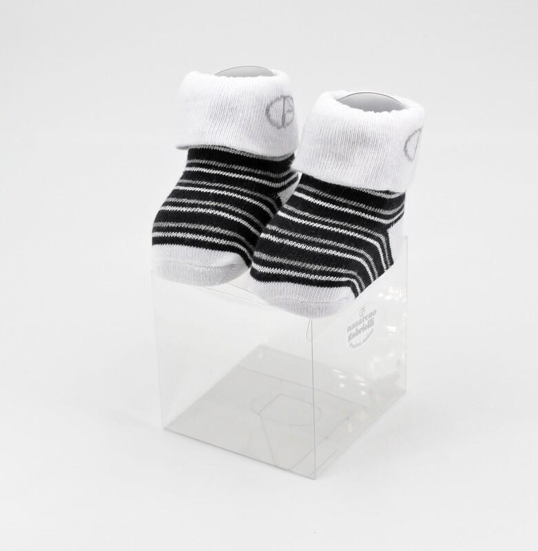 Scarpine neonato in cotone nere e bianche a righe Pz. 1