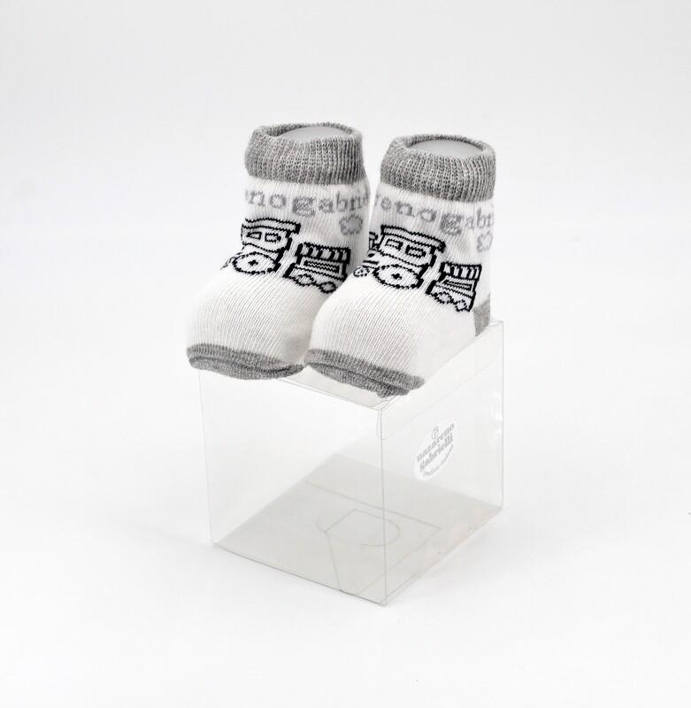 Scarpine neonato in cotone bianche e grigie con trenino Pz. 1