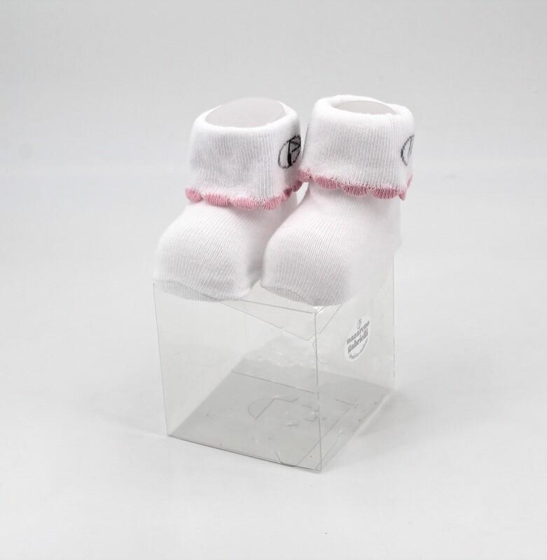 Scarpine neonato in cotone bianche con righino rosa Pz. 1