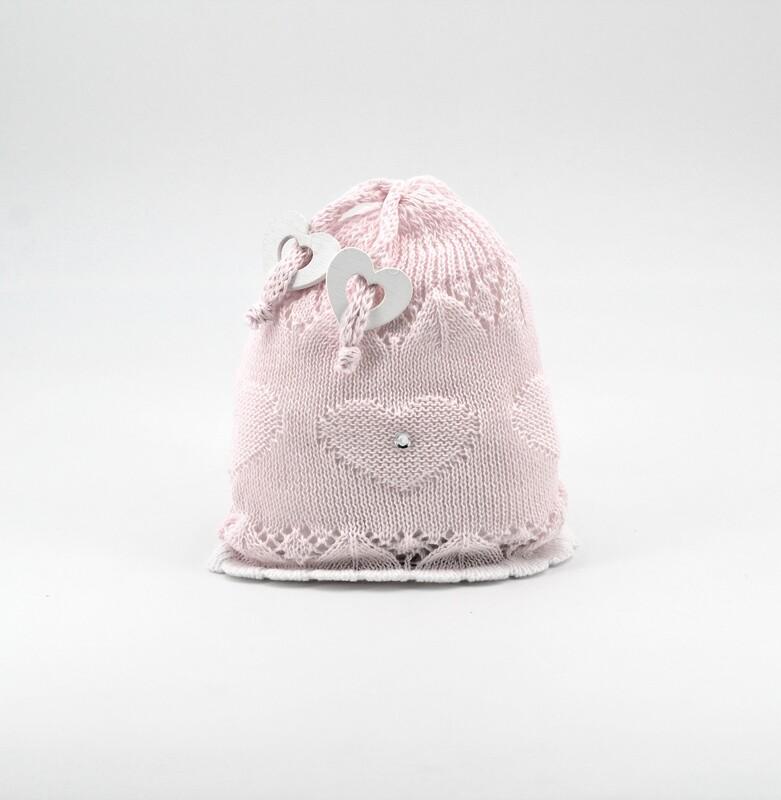 Cappellino in cotone artigianale rosa Pz. 1