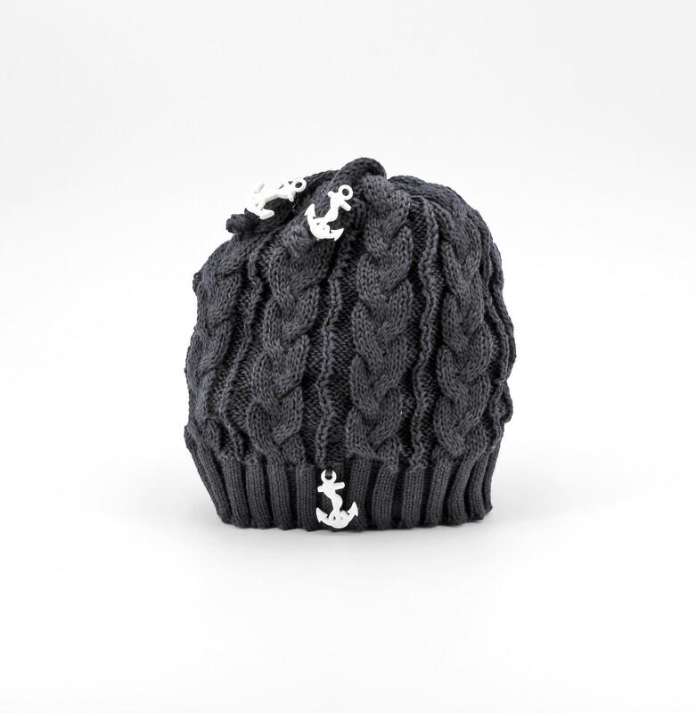 Cappellino in cotone artigianale blu con ancora Pz. 1