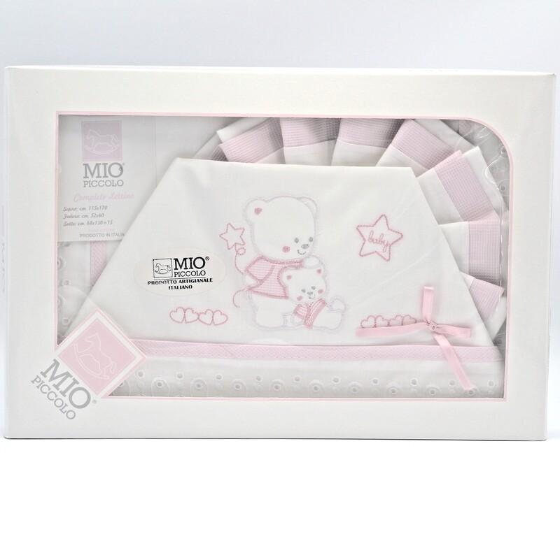 Completo lettino bianco e rosa baby Pz.1