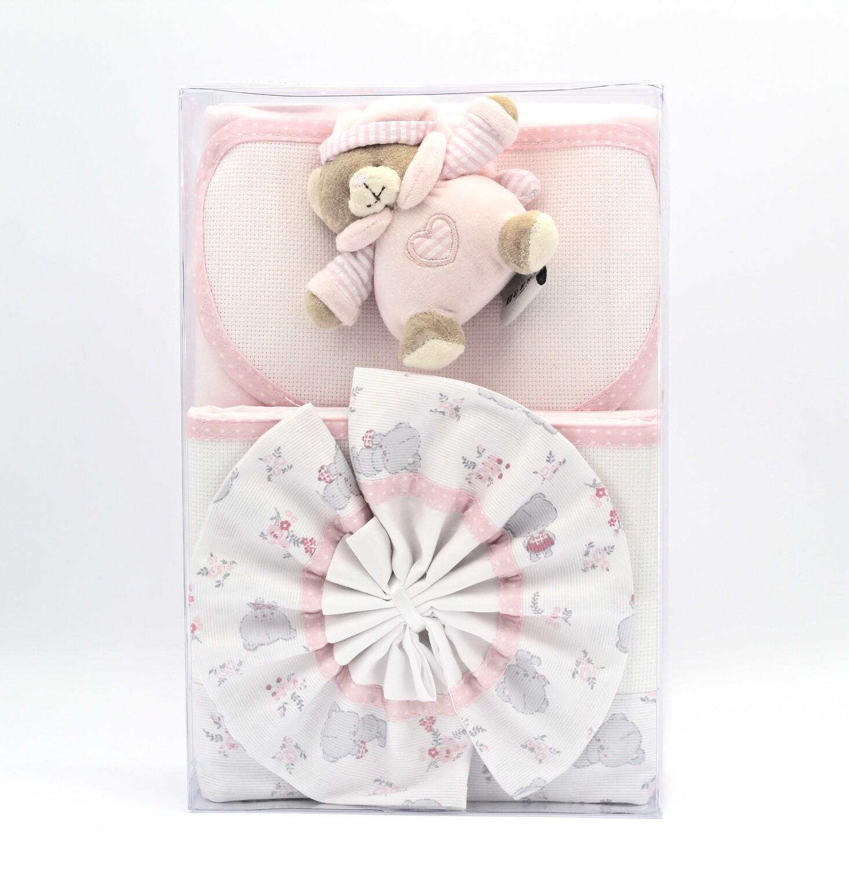 Set culla in puro cotone bianco e rosa Pz.1