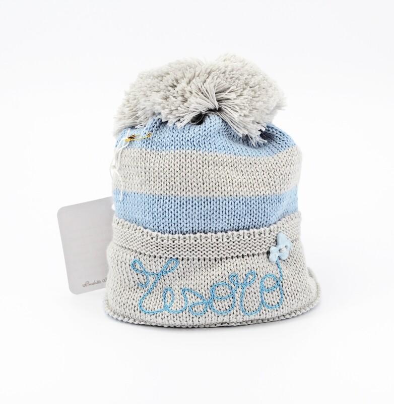 Cappellino in lana merinos a righe con ricamo tesoro Pz.1