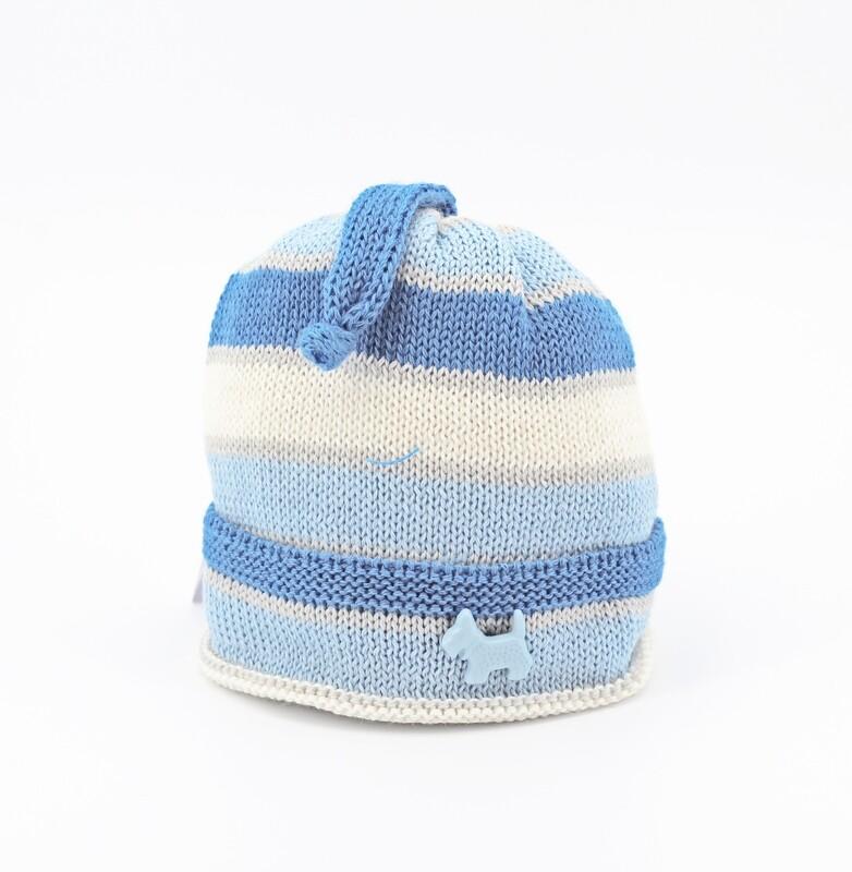 Cappellino in lana merinos a righe bianche e celesti Pz.1