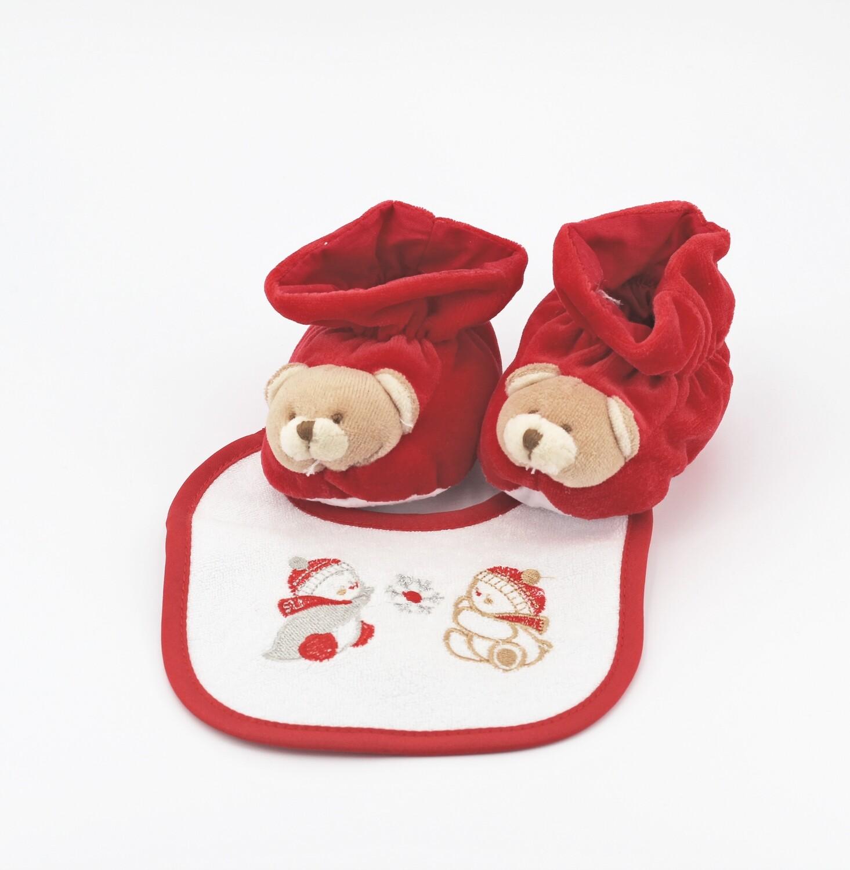 Confezione regalo natalizia babbucce più bavetta Pz. 1