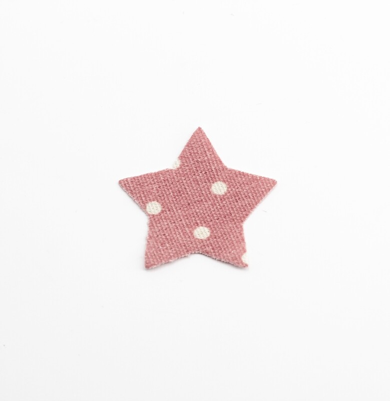 Applicazione stella in cotone rosa a pois bianchi Pz.1