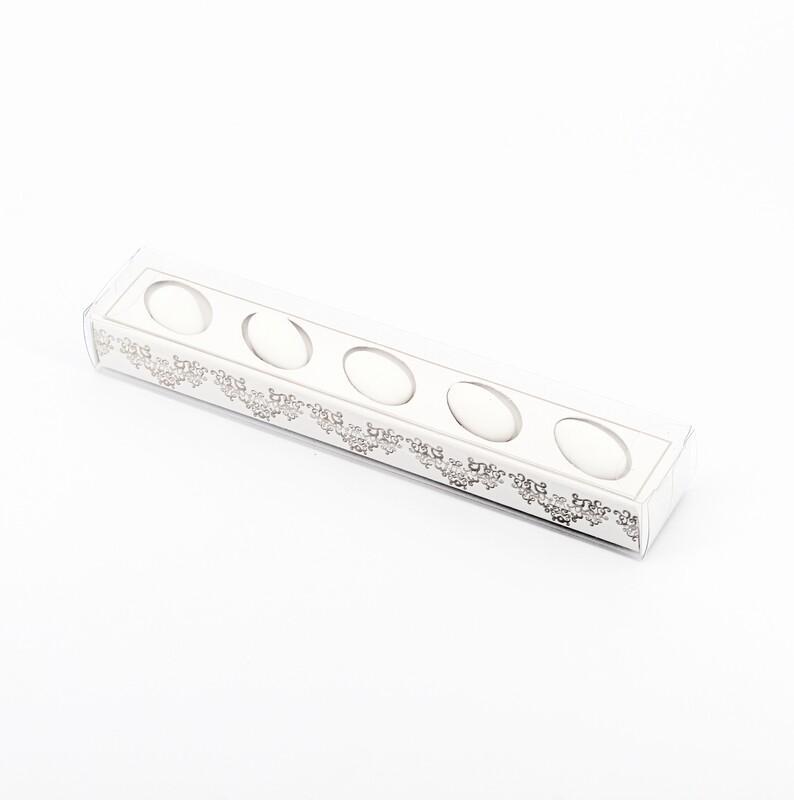 Scatolo trasparente per 5 confetti bianca Pz. 10