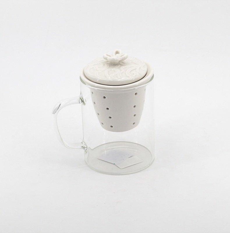 Bomboniera tisaniera  in vetro con filtro e tappo bianco Pz.1