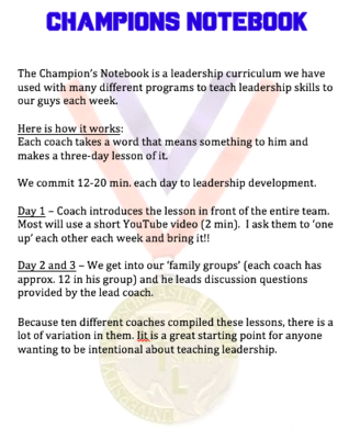 CHAMPIONS NOTEBOOK - Leadership Curriculum (10 lessons)