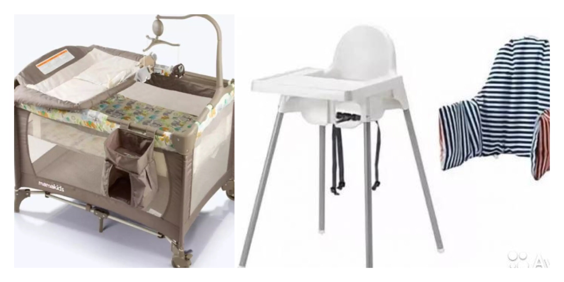 Portable Baby Cot with Linen + High Chair  00049