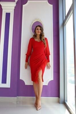 Rochie Cleopatra cu pene rosii
