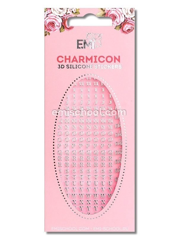 Charmicon 3D Silicone Stickers Letters Silver