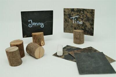 Schiefer Platzkarten mit Holzsteg